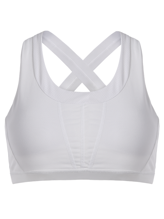 Cross Rücken Padded Sporty Bra Top - Weiß M