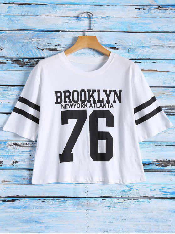 Camiseta estampada con la manga de la raya - Blanco Única Talla