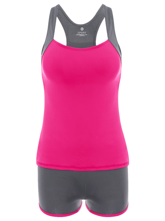 latest Color Block Tank Top and Sports Shorts - ROSE RED M