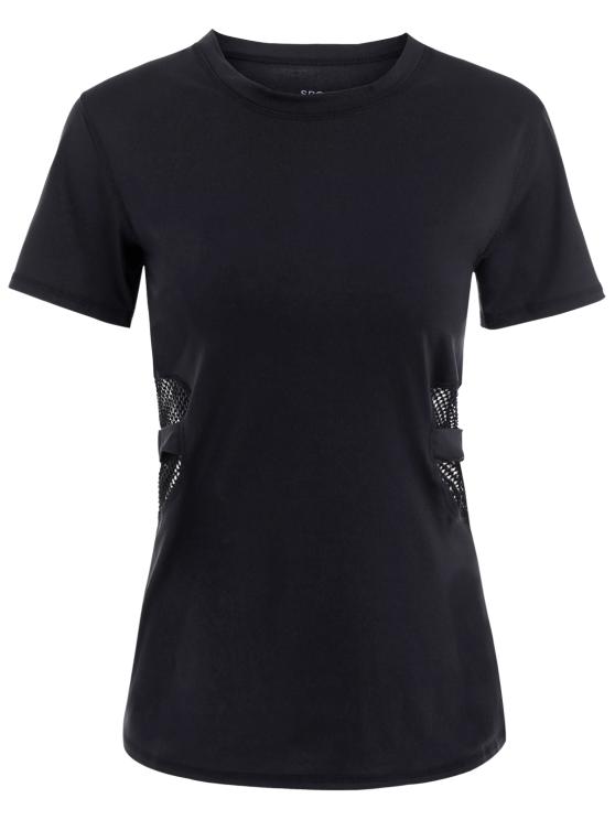 outfits Fishnet Panel Sports T-Shirt - BLACK S