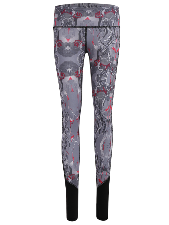 fancy Printed Cropped Sports Leggings - GRAY S