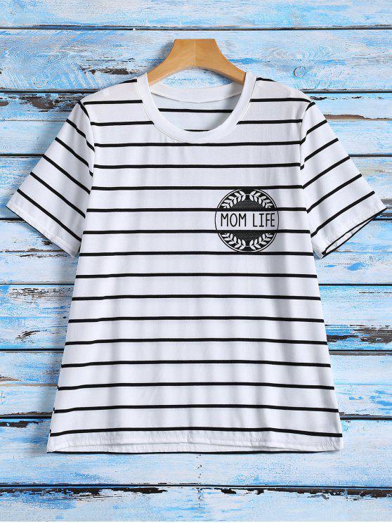 chic Striped Graphic T-Shirt - STRIPE S
