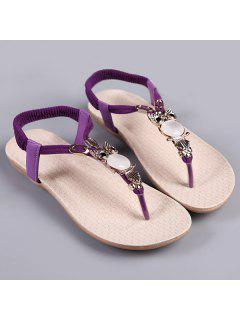 Elastic Band Faux Leather Sandals - Purple 37