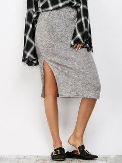 Side Slit Sweater Jupe Crayon - Gris S