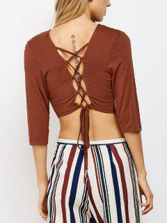 Lace Up Back Criss Cross Crop Top - Brown #26 S