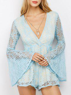 Lace Plunging Neck Flare Sleeve Romper - Light Blue S