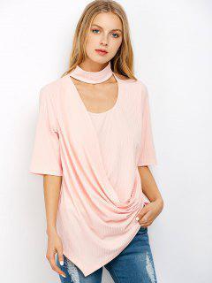 Asymétrique Drapé Choker T-shirt - Rose Clair L
