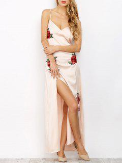 Haut Slip Slit Floral Maxi Dress - Rose Abricot Clair S