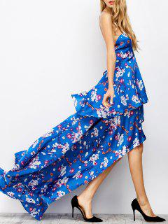 Floral Tiered Maxi Prom Dress - Blue S