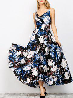 Palm Floral Print Maxi Prom Dress - Black S