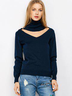 Cuello Alto Suéter Del Recorte Gargantilla - Azul M