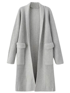 Big Pocket Longline Cardigan - Light Gray