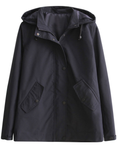 Hooded Windbreaker Jacket - Black M