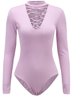 Long Sleeve Lace Up Choker Bodysuit - Light Purple S
