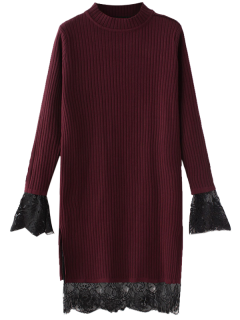 Lace Panel Cut Out Knitting Dress - Wine Red