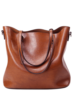 Buckles PU Leather Metal Shoulder Bag - Brown