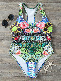 Racerback Cut Out Printed Swimwear - Floral S