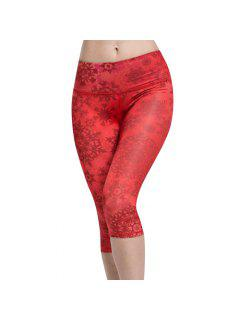Snowflake Print Capri Leggings - Red M
