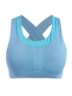 Cross Back Padded Sporty Bra Top - Azure L