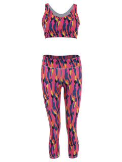 Printed Bra And Skinny Capri Leggings Set - Rose Red L