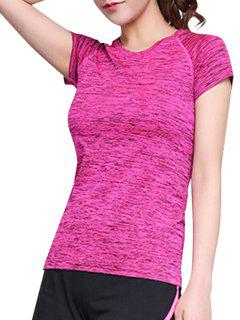 Heathered Breathable Sports T-Shirt - Rose M