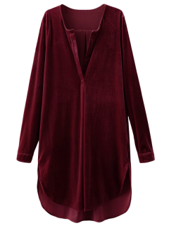 Split Neck Velvet Tunic Dress - Burgundy L