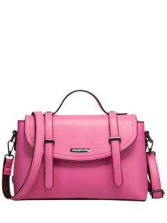 Faux Leather Straps Flapped Handbag - Rose Red