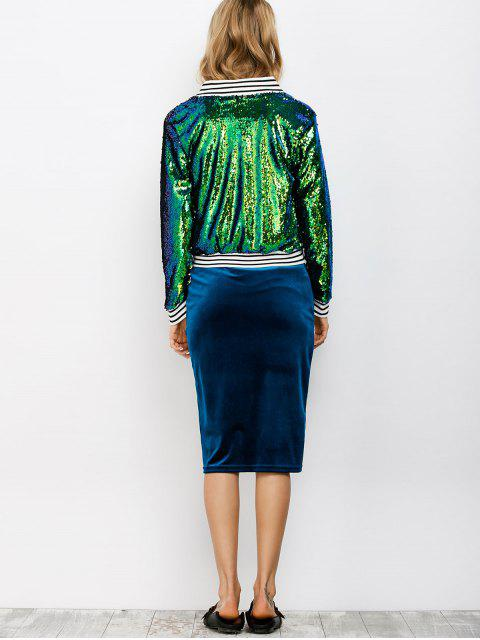 best Sparkly Sequins Bomber Jacket - GREEN L Mobile