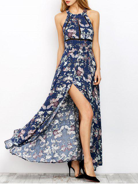 outfits Floral Print Maxi Flowing Dress - BLUE S Mobile