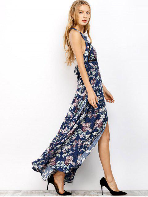 outfit Floral Print Maxi Flowing Dress - BLUE M Mobile