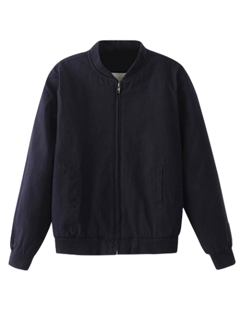 shop Thick Bomber Jacket - PURPLISH BLUE S Mobile
