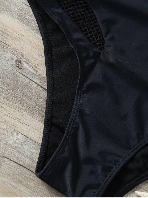fashion Cut Out Mesh Panel Swimwear - BLACK M Mobile