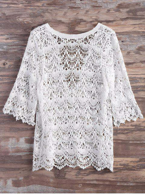 women's Crochet Lace Up Feather Cover Up - WHITE S Mobile