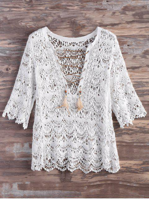 Crochet Lace Up pluma Cover Up - Blanco M Mobile