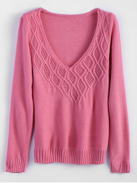 Tunika Strickpullover mit Kabelstrick und tiefem Ausschnitt - Pink M Mobile
