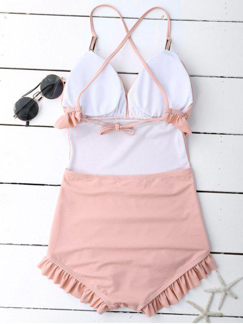fashion Frilled Slimming Swimsuit - PINK M Mobile