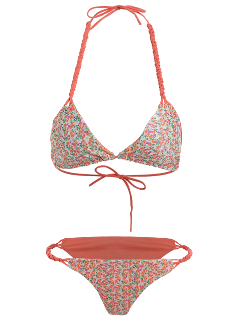 womens Small Floral Braided String Bikini Set - FLORAL S Mobile