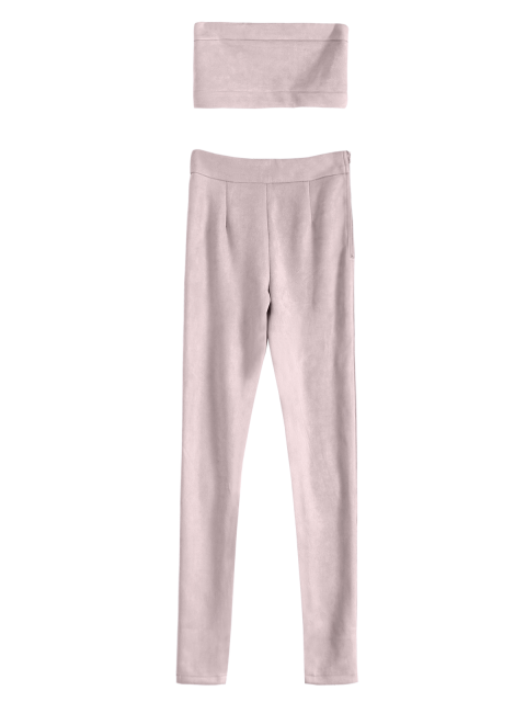 trendy High Rise Suede Pants with Tube Top - PINK M Mobile