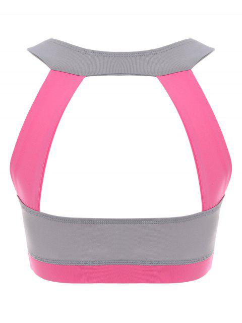 best Running Color Block Sports Top - PEACH PINK S Mobile