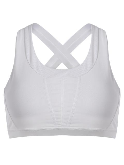lady Cross Back Padded Sporty Bra Top - WHITE M Mobile