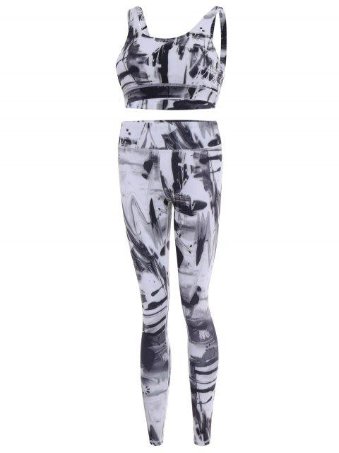 womens Sports Bra and Leggings Gym Sweat Suit - WHITE L Mobile