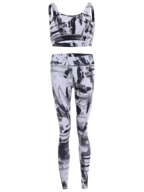 buy Sports Bra and Leggings Gym Sweat Suit - WHITE M Mobile