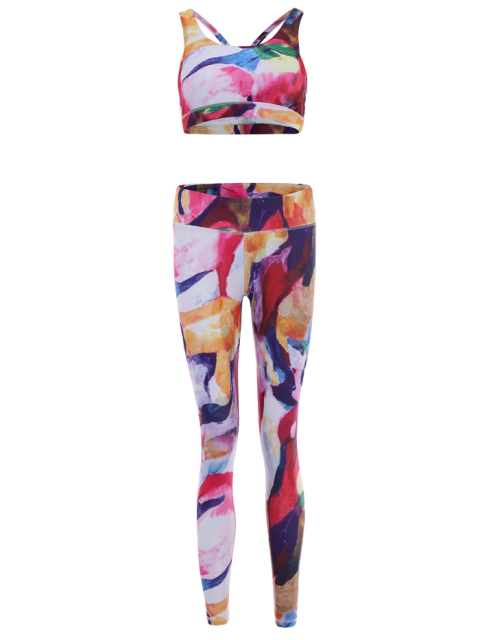 latest Printed Sports Bra and Leggings Sweat Suit -   Mobile