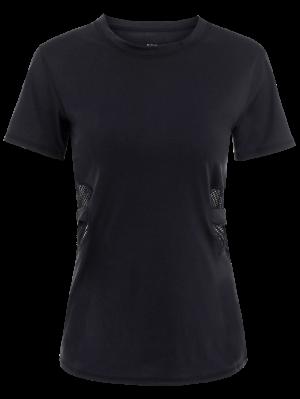 Fishnet Panel Sports T-Shirt - Black L