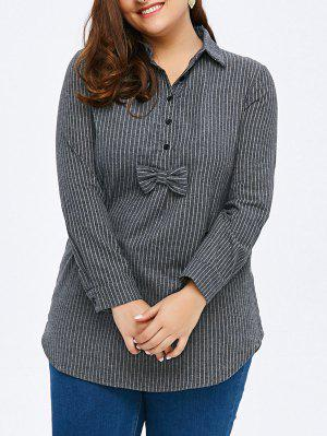 Plus Size Striped Asymmetric Long Tunic Shirt