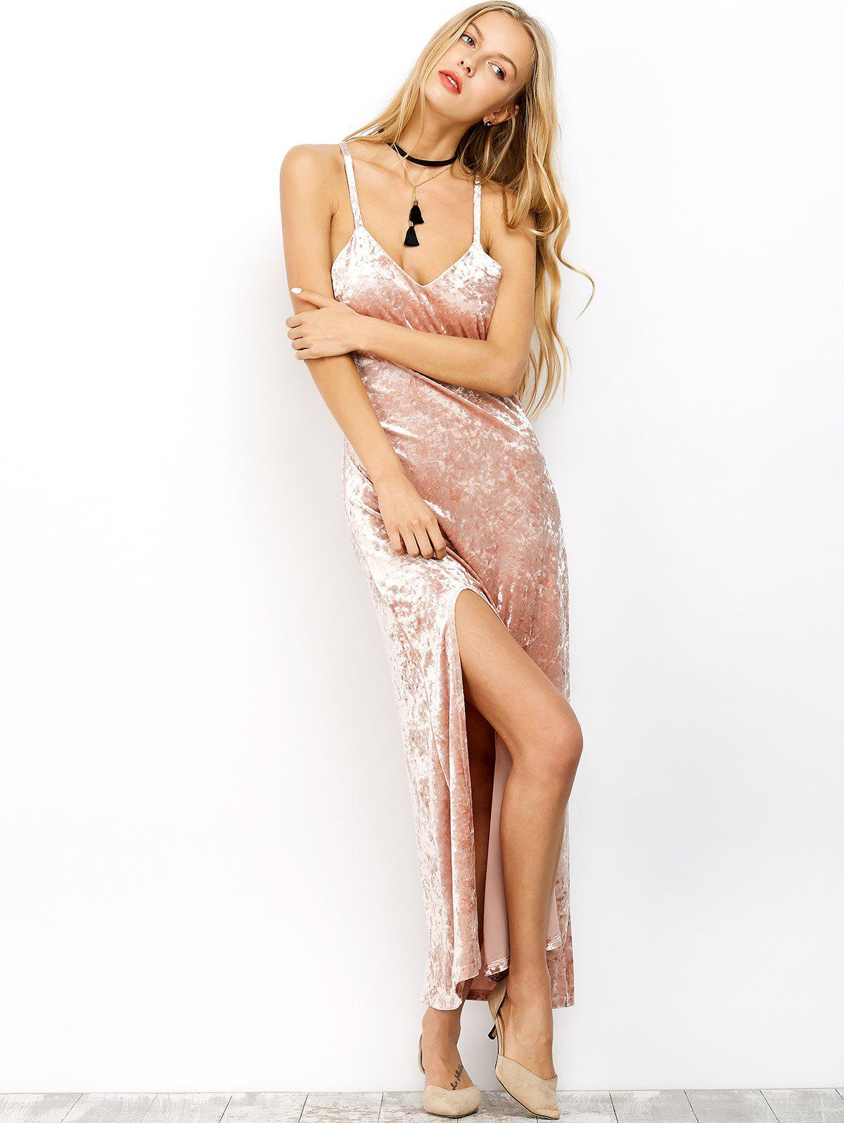 Cami Maxi Low Cut Velvet Dress - Pink