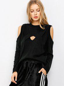 Cut Out Cold Shoulder Sweater - Black Xl