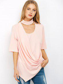 Asymmetric Draped Choker T-Shirt - Light Pink L