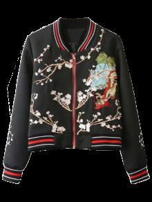Flower Embroidery Bomber Jacket - Black L