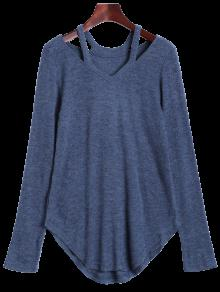 Cut Out Pullover Sweater - Blue Gray Xl